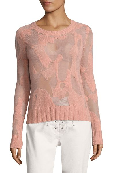 A.L.C. lenox camo knit sweater in peach - Intricately knit camo sweater with textured details....