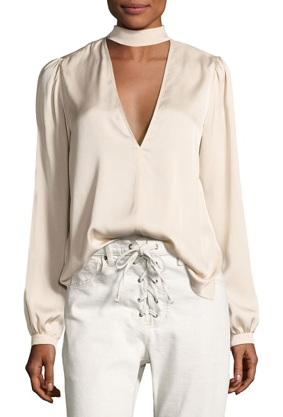 """A.L.C. Liza Choker Silk Top in pink - A.L.C """"Liza"""" silk blouse. Choker collar; button-loop and..."""