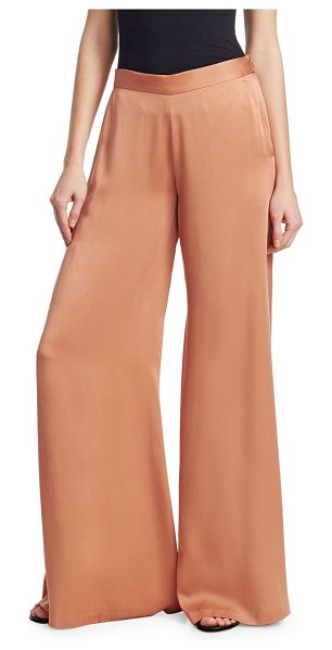 A.L.C. nelson satin pants in rose - Luxe satin pants in wide leg silhouette. Elasticized...
