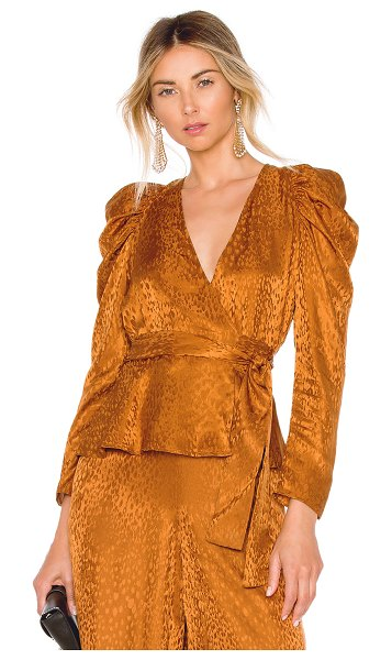 A.L.C. Palermo Top in brown - Fine silk jacquard in a luxurious caramel shade gently...