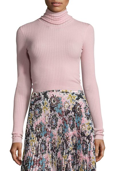 "A.L.C. Pippa Ribbed Wool-Blend Sweater in peony - A.L.C. ""Pippa"" ribbed sweater. Turtleneck. Long sleeves...."