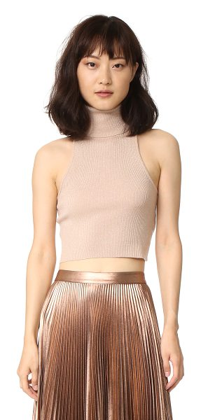 A.L.C. presley top in bisque/gold - A formfitting A.L.C. turtleneck crop top with a metallic...