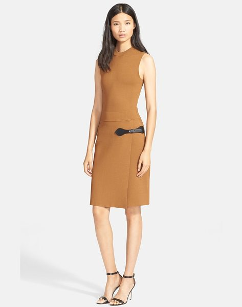 A.L.C. ryan leather trim dress in cashmere - A buckled leather tab accentuates the faux-wrap styling...
