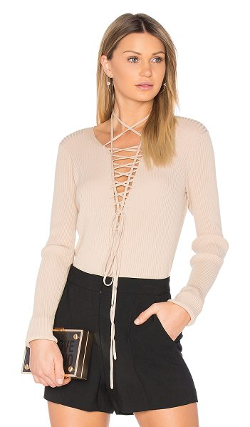 A.L.C. Solana Top in beige - Functional and fashionable. Sleek rib knit adds...