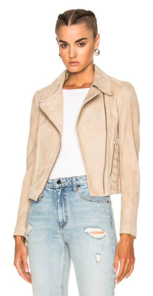 A.L.C. Syd Jacket in neutrals - Self: 100% lambskin suede leather - Lining: 62% viscose...