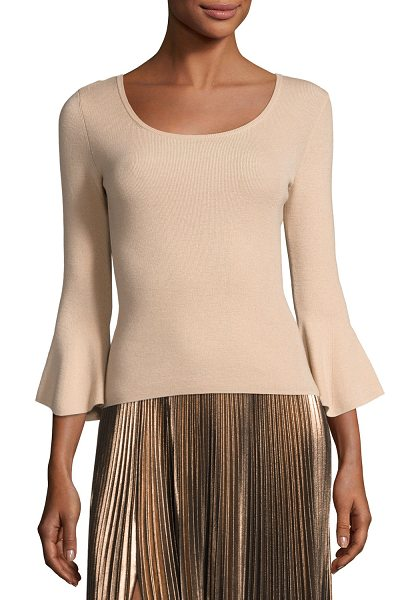 "A.L.C. Tadeo Bell-Sleeve Fitted Top in tan - A.L.C. ""Tadeo"" top in wool blend. Approx. 19""L down..."
