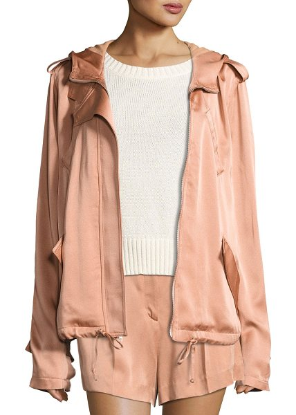 "A.L.C. Theo Sateen Utility Jacket in pink - A.L.C ""Theo"" sateen jacket. Hooded neckline; zip-front...."