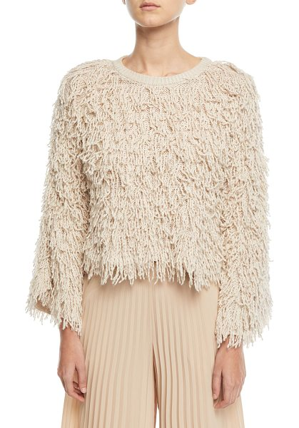 "A.L.C. Toby Crewneck Shaggy Sweater - A.L.C. ""Toby"" shaggy loop-knit sweater. Crew neckline. Long..."