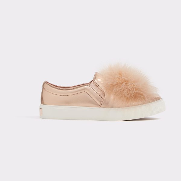 ALDO Acelasien in metallic - A total must for tomboys - this feather topped sneaker...