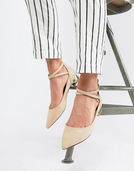 ALDO Aldo Flat Point Shoe With Metal Heel in bone - Shoes by ALDO, Cute and classic, Ankle-strap fastening,...