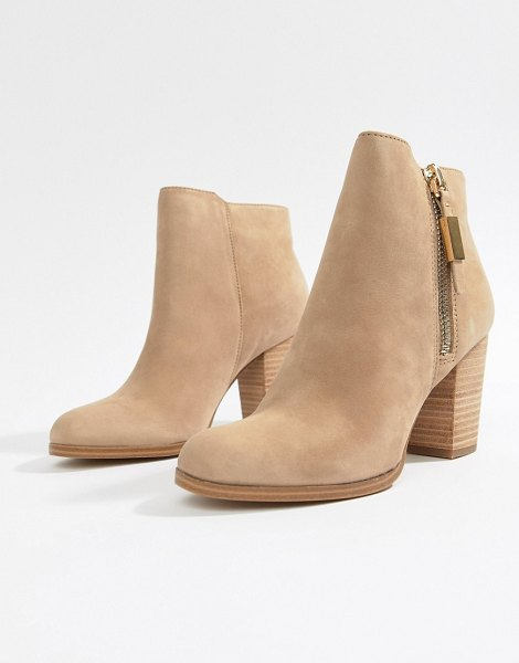 ALDO aldo leather heeled ankle boot in beige - Boots by ALDO, Sweet looks from the ground up, Side-zip...