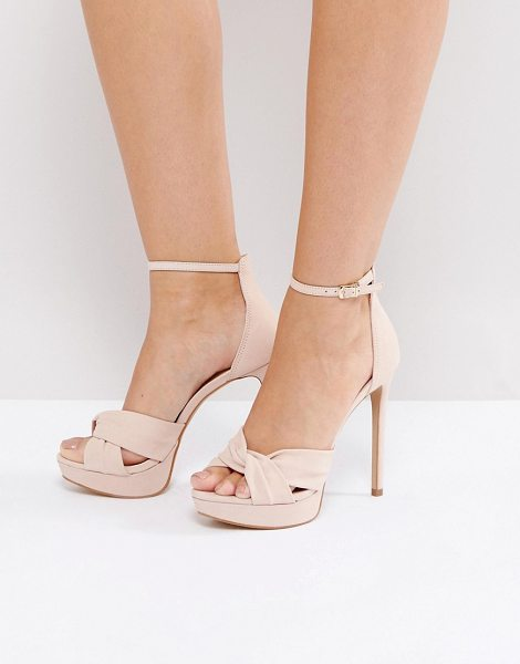 "ALDO Ameline Pink Cross Front Heeled Sandals in pink - """"Sandals by ALDO, Suede upper, Ankle-strap fastening,..."