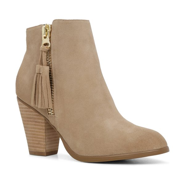 ALDO Asoewiel in natural - This tassel-zip, ankle-skimming bootie is an AM-to-PM...