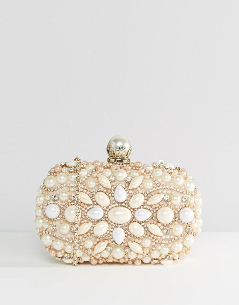 Aldo Beaded Box Clutch With Pearl Bag In Gold By