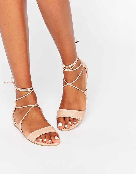 ALDO Brena Nude Ghillie Leather Sandal in pink - Sandals by ALDO, Real leather upper, Open toe, Lace-up...