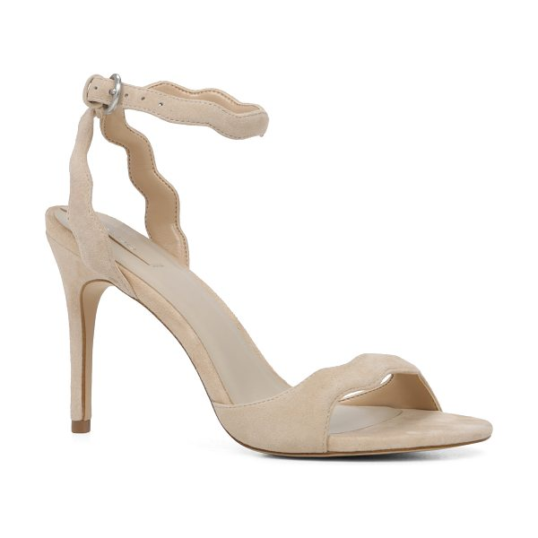 ALDO Carine sandals in bone - Scalloped-edged suede adds a modern twist to this ankle...
