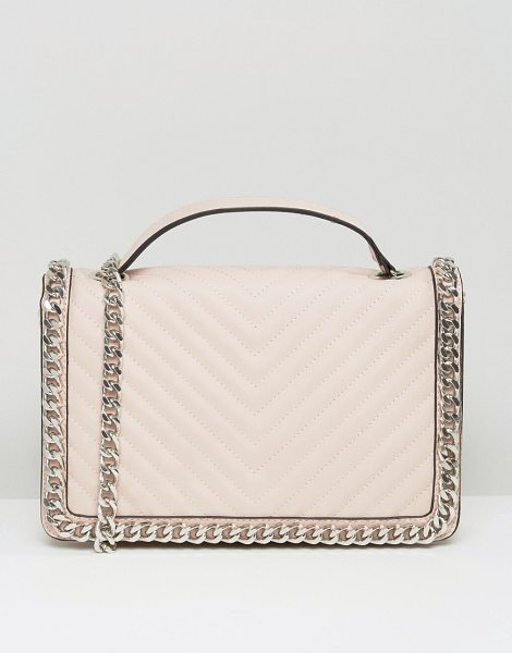 ALDO Chevron Chain Detail Shoulder Bag in pink - Cart by ALDO, Chevron quilted faux-leather outer, Single...