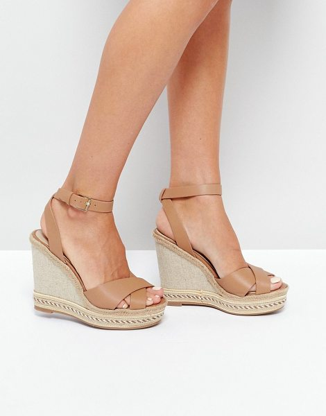 "ALDO Clodia Tan Espadrille Wedge Sandals in tan - """"Wedges by ALDO, Leather upper, Ankle-strap fastening,..."