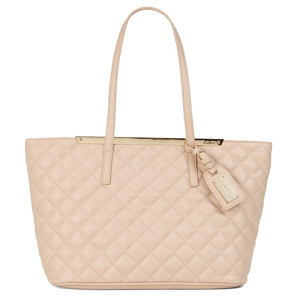 ALDO Crabapple shoulder bag in bone - Lush quilted textile, a gloden trim and a clean-lined...