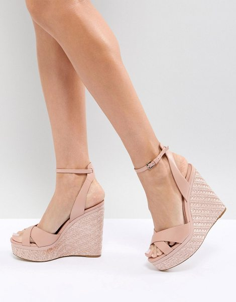 """ALDO cross strap wedge shoe with textured heel in pink - """"""""Shoes by ALDO, Ankle-strap fastening, Cross-over..."""