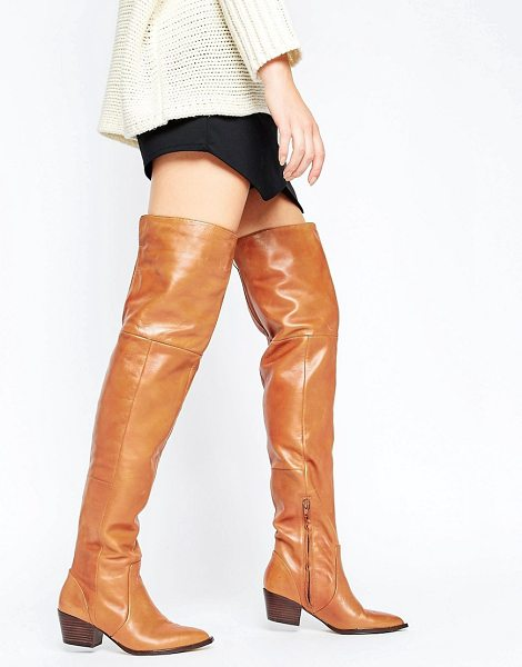"ALDO Deedee Western Leather Over The Knee Boots in tan - """"Boots by ALDO, Stretch leather upper, Side zip..."