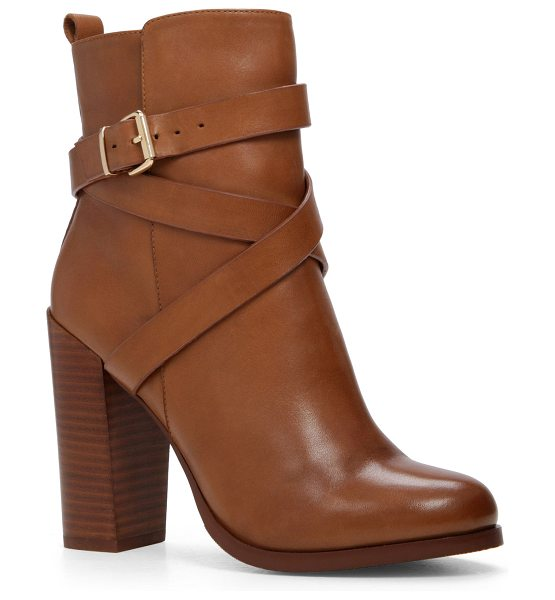 ALDO Elassa in cognac - Tough and lovely: a block heel and buckles firm up your...
