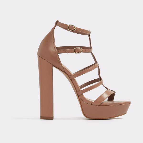 ALDO Elyni in beige - Caged straps and a stacked, block heel unite for a...
