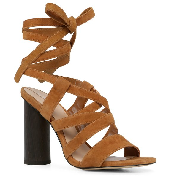 ALDO Exerila in cognac - Round column heel adds a subversive edge to the strappy...