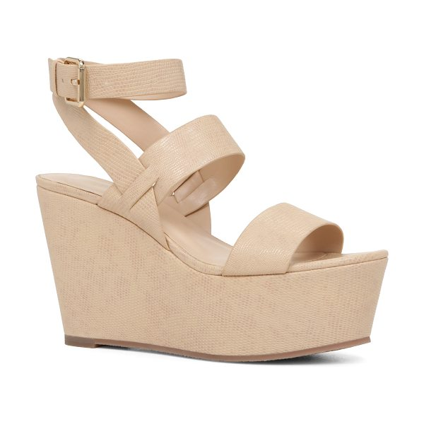 ALDO Karika in bone - Set on a chunky platform heel, this strappy wedge sandal...