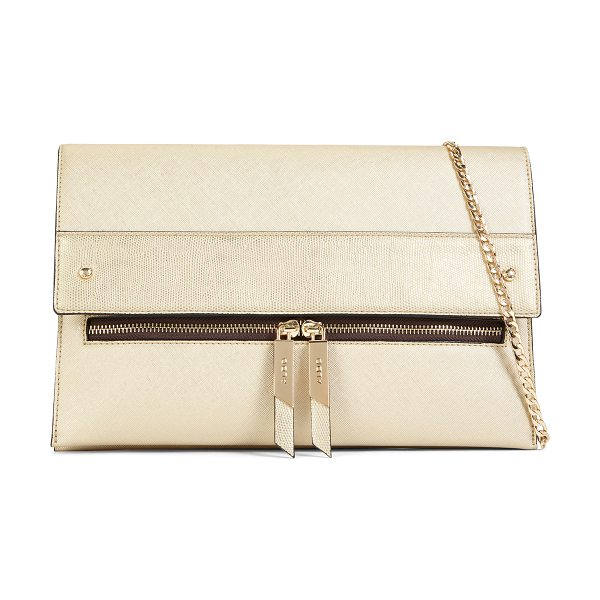 ALDO Laroawiel in gold - Gently oversized, this foldover bag with zipper detail...