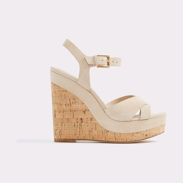 ALDO Madyson in bone - A stunning cork-covered wedge heel marries slender...