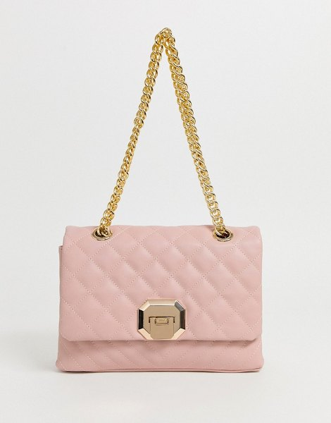 ALDO menifee light pink quilted cross body bag with double gold chunky chain strap in pink