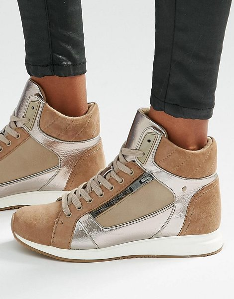 ALDO Metaliic detail high top sneakers in beige - Shoes by ALDO, Faux suede upper, Metallic inserts,...