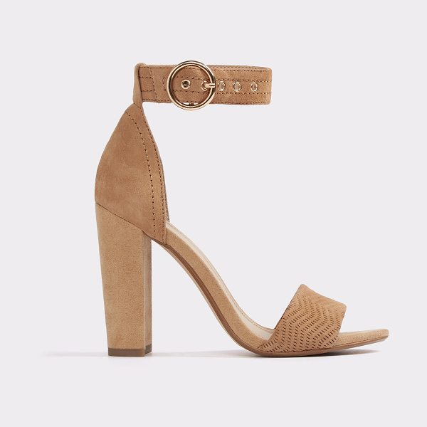 ALDO Minulio in camel - Play it coy in these cool open-toe sandals, featuring...