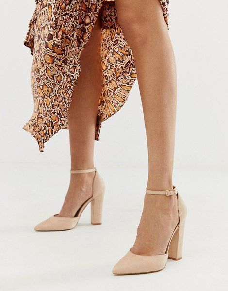ALDO nicholes block heeled pumps with ankle strap in beige-pink in pink