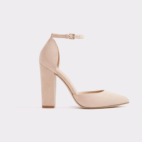 ALDO Nicholes in light pink - A 40's inspired stacked heel ankle strap pump, swathed...