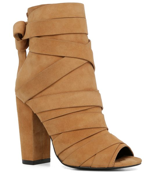 ALDO Rigoli boots in camel suede - Wrapped in overlapping straps and set on a sky-high...