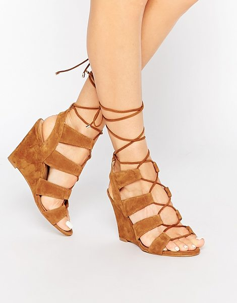 ALDO Rothbaum Cognac Ghillie Wedge Gladiator Sandals in tan - Wedges by ALDO, Real suede upper, Cut-out detailing,...