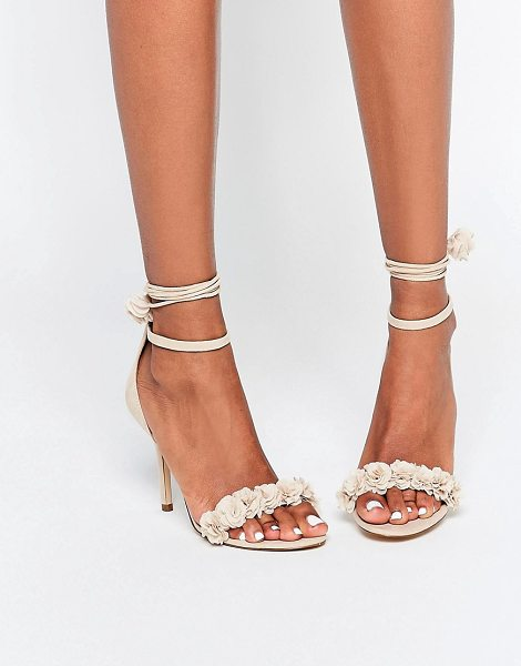 ALDO Silalia Nude Lace Up Pompom Heeled Sandal in beige - Heels by ALDO, Faux-leather upper, Zip-back fastening,...