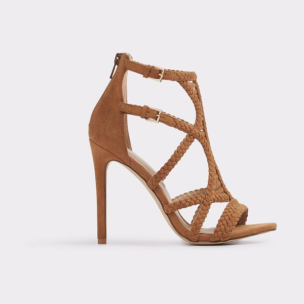 ALDO Sinfony in cognac - Sparkle-topped suede straps and a laced caged silhouette...