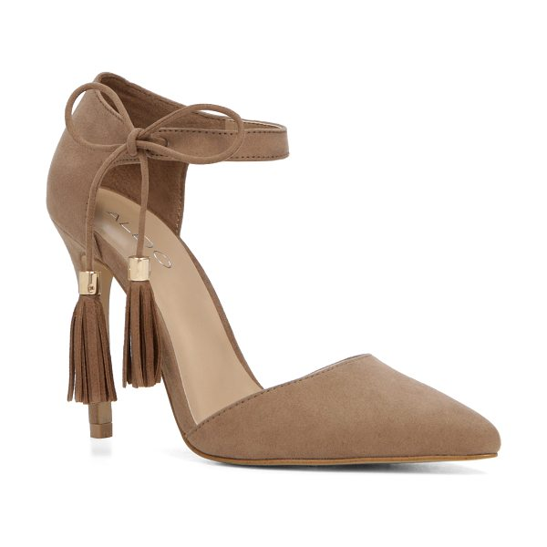 ALDO Thaella in taupe - A two-piece pump plays the free-spirit with boho fringe....
