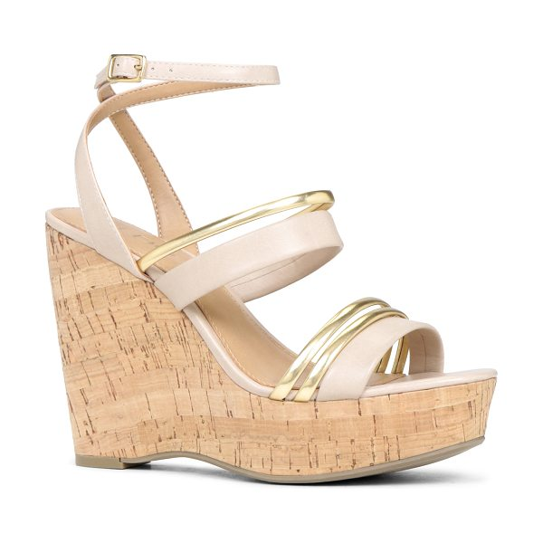 ALDO Treng sandals in bone - Ankle strap. - Cork-like wedge. - Round toe. - Open toe....