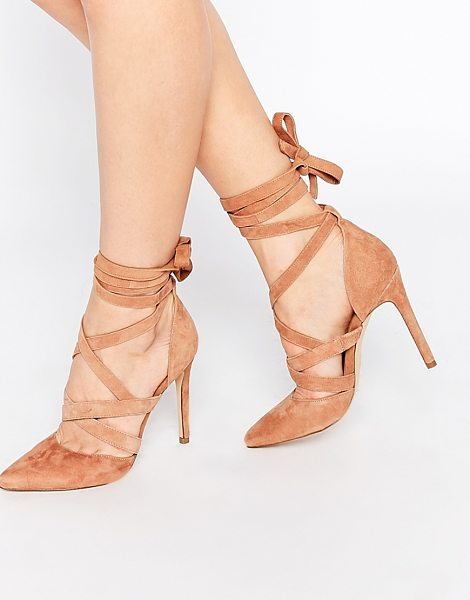 ALDO Unelilian camel suede strap heeled shoes in tan - Shoes by ALDO, Real suede upper, Tie up around ankle...