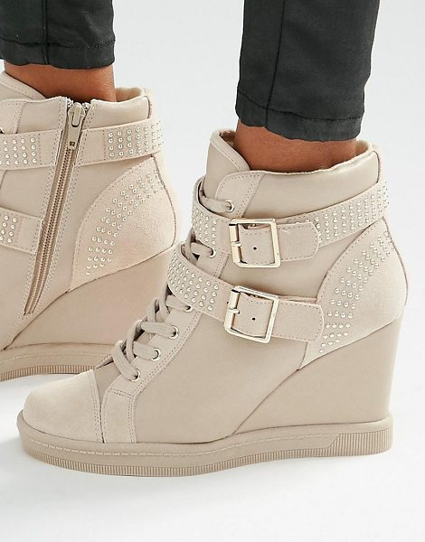 ALDO Wedge heel strap sneakers - Shoes by ALDO, Faux-leather upper, Lace-up fastening,...