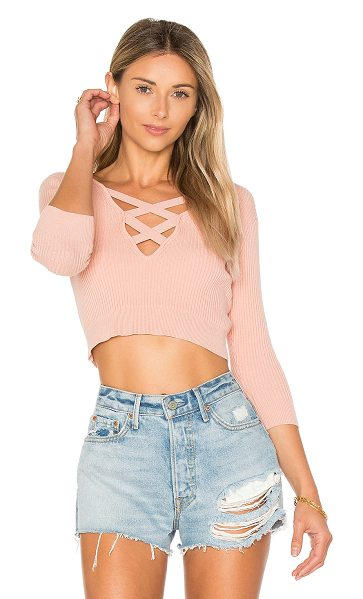 ale by alessandra x REVOLVE Leona Cropped Sweater in pink - Your new snuggle buddy. Designed in a soft knit fabric,...