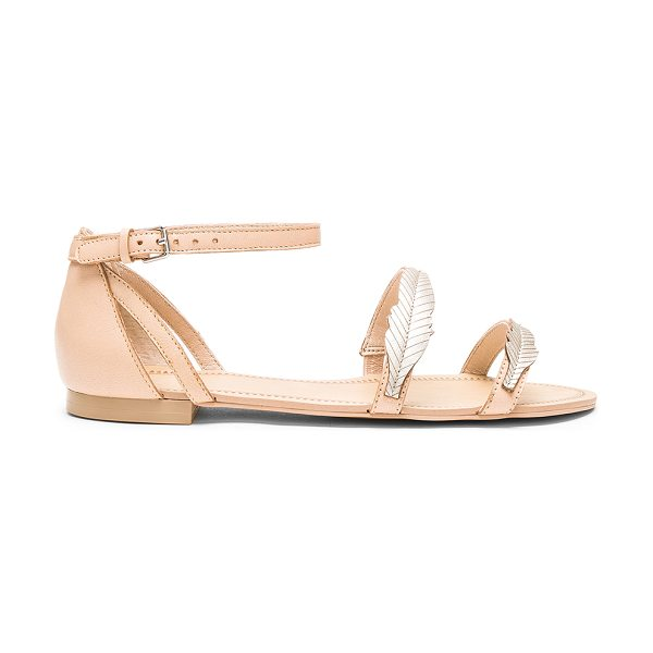 ale by alessandra Pressed Leather Feather Sandal in beige - Leather upper with man made sole. Ankle strap with...