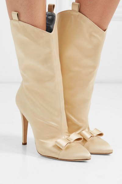 Alessandra Rich bow-embellished satin ankle boots in beige