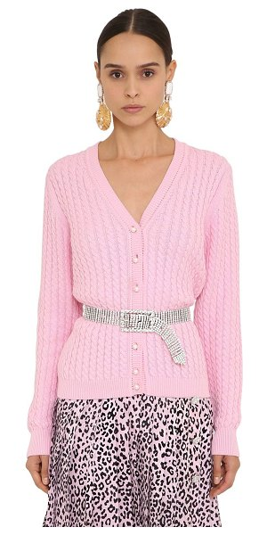 Alessandra Rich Cotton knit cardigan in pink