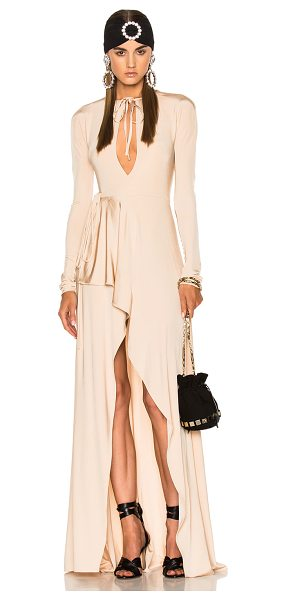 Alessandra Rich Jersey Asymmetrical Gown in nude - 95% viscose 5% elastan. Made in Italy. Dry clean only....