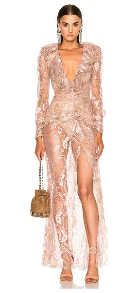 Alessandra Rich Lace Dress in blush - Self: 75% metallic fibers 25% polyamideLining 1: 100%...